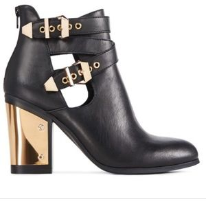 JUSTFAB Black & Gold Buckle Boots